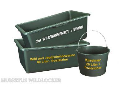 Wildwannen- Wildwannenset 2 St Wannen 80 L inkl. Kirreimer 20 Liter / Frostsicher