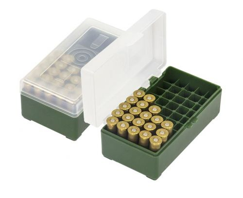 Patronenbox für  Revolverpatronen Kal. 38-357 Mag  / f. 50 Stück Patronen HU- 201650