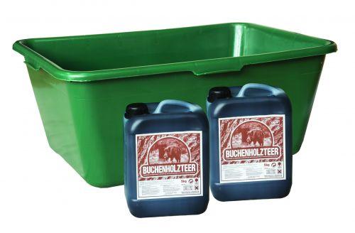 Wild u. Jagdzubehörwanne 90 Liter Sparset inkl. 2x 5 kg. Buchenholzteerkanister  Art.Nr. HU- 170146-10
