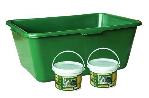 Wild u. Jagdzubehörwanne 90 Liter Sparset inkl. 2 Eimer mit 2,5 kg Mineralsalzpaste Art.Nr. HU- 170146-12