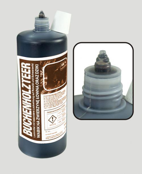Buchenholzteer Hubertus Premium Plus mit Pheromon  1kg in sauberer Spritzflasche  Art.Nr. HU- 93039