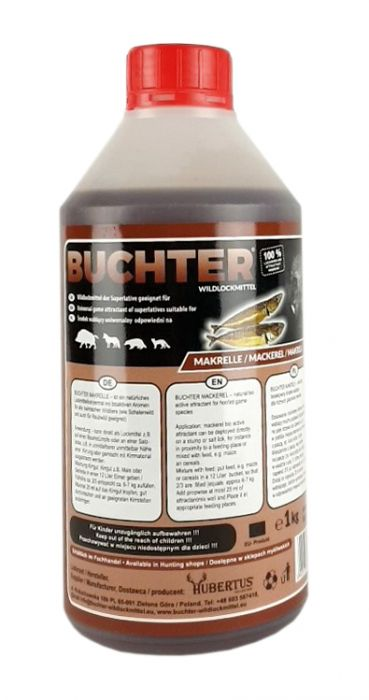 HUBERTUS-BUCHTER-MAKRELLE-AROMA-Wildlockmittel Konzentrat 1 kg Flasche // TOP - EFFEKT AN DER  KIRRUNG  Art. Nr. BU-18008