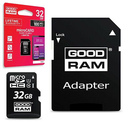 Speicherkarte micro SD GOODRAM microSDHC 32GB Class 10 UHS1 + SD Adapter Art. Nr. 70021