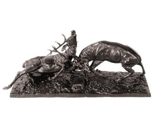 Bronzeplastik kämpfende Rothirsche