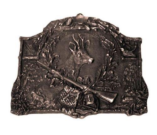 Bronzeschild mit Rehbockkopf