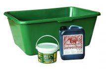 Wild u. Jagdzubehörwanne 90 Liter Sparset inkl. 1x 5 kg. Buchenholzteerkanister +1 Eimer 2,5 kg Mineralsalzpaste  Art.Nr. HU- 170146-11