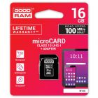 Speicherkarte micro SD GOODRAM microSDHC 16GB Class 10 UHS1 + SD Adapter Art. Nr. 70020
