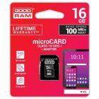 Speicherkarte micro SD GOODRAMmicroSDHC 16GB Class 10 UHS1 + SD Adapter Art. Nr. 70020