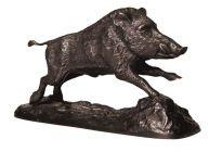 Bronzeplastik Keiler im Sprung