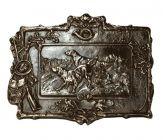 Bronzegussschild mit Jagdmotiv